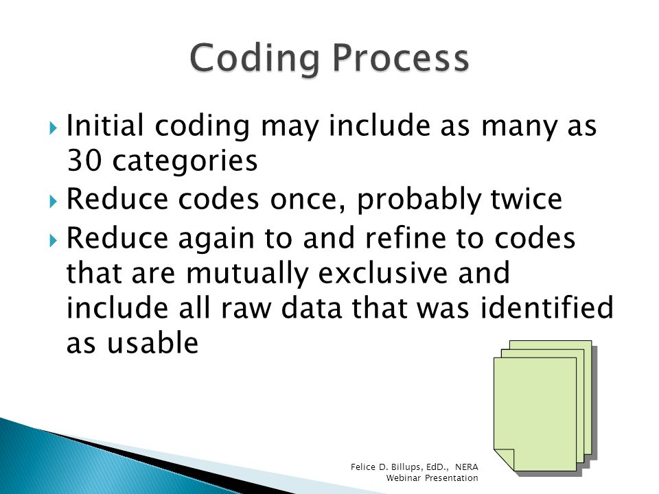 Coding Process Initial coding may include as many as 30 categories