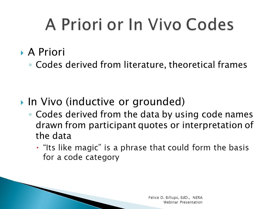 A Priori or In Vivo Codes