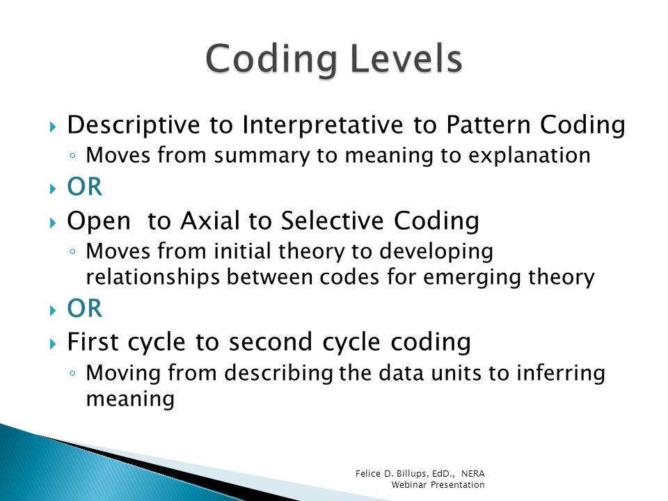 Coding Levels Descriptive to Interpretative to Pattern Coding OR
