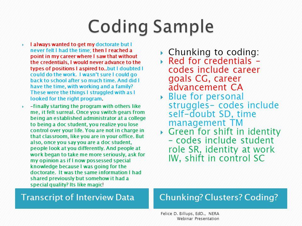 Coding Sample Chunking to coding: