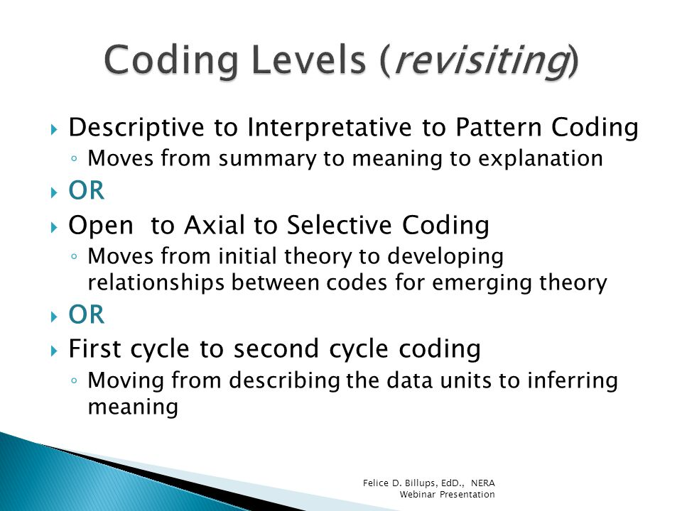 Coding Levels (revisiting)
