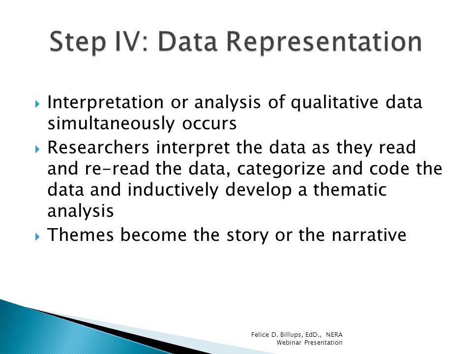 Step IV: Data Representation