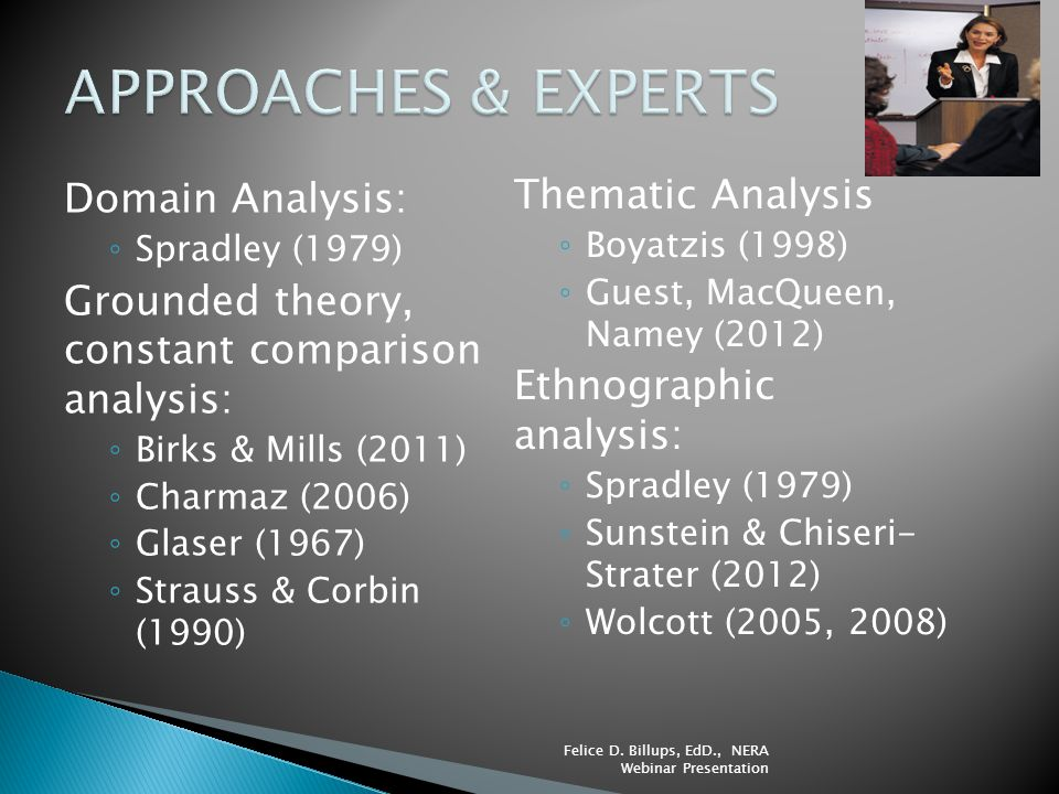APPROACHES & EXPERTS Thematic Analysis Domain Analysis: