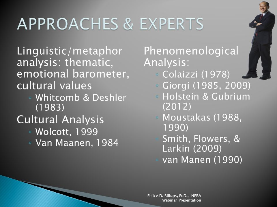 APPROACHES & EXPERTS Linguistic/metaphor analysis: thematic, emotional barometer, cultural values.