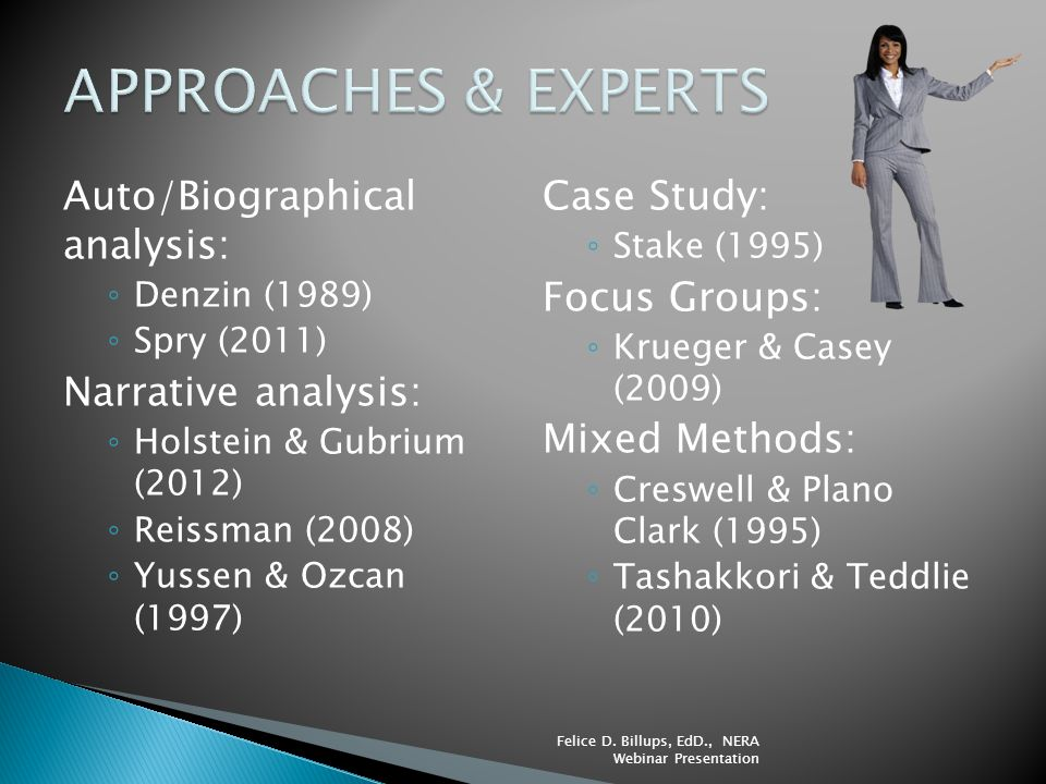 APPROACHES & EXPERTS Auto/Biographical analysis: Narrative analysis: