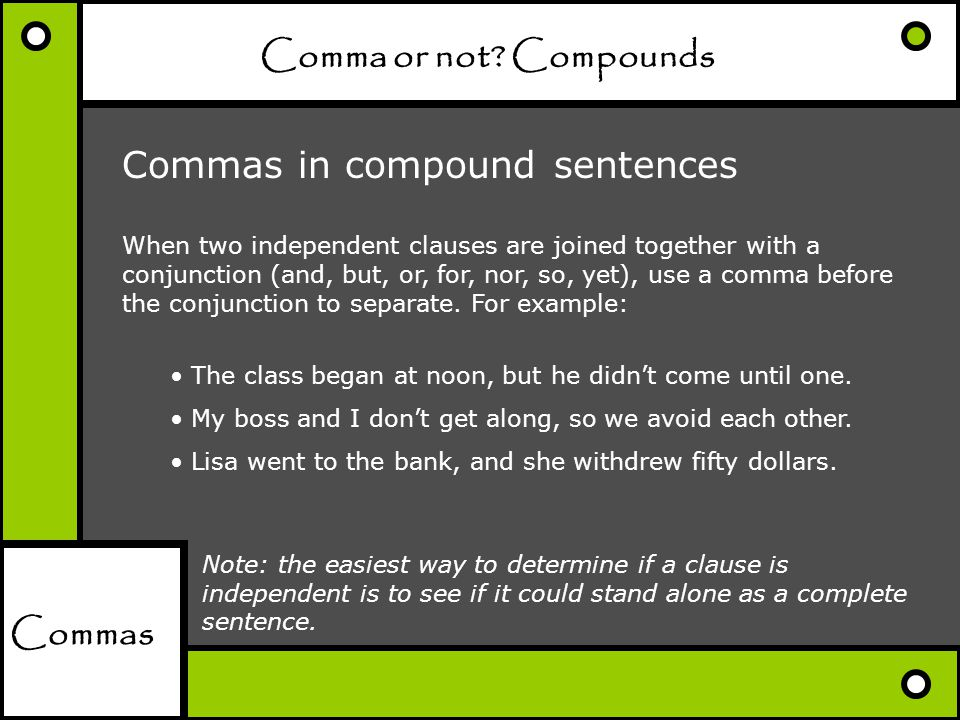 Comma or not Compounds
