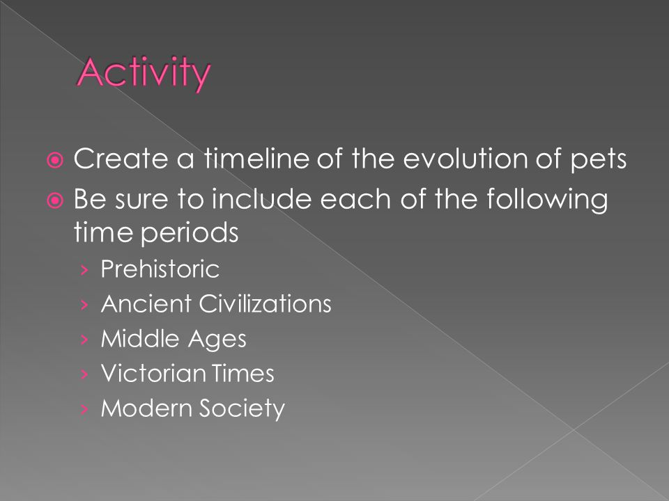 Activity Create a timeline of the evolution of pets