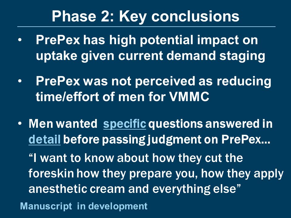 Phase 2: Key conclusions