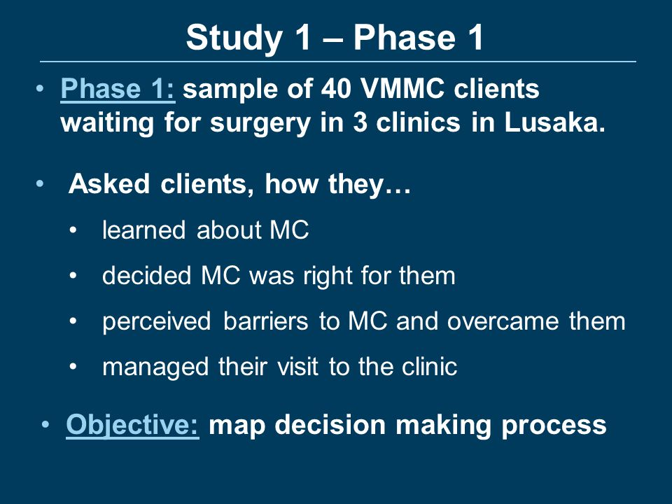 Study 1 – Phase 1 Phase 1: sample of 40 VMMC clients waiting for surgery in 3 clinics in Lusaka. Asked clients, how they…