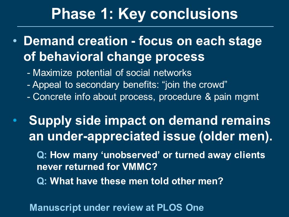 Phase 1: Key conclusions
