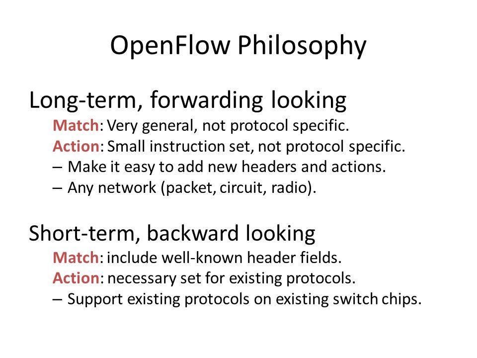 OpenFlow Philosophy Long-term, forwarding looking