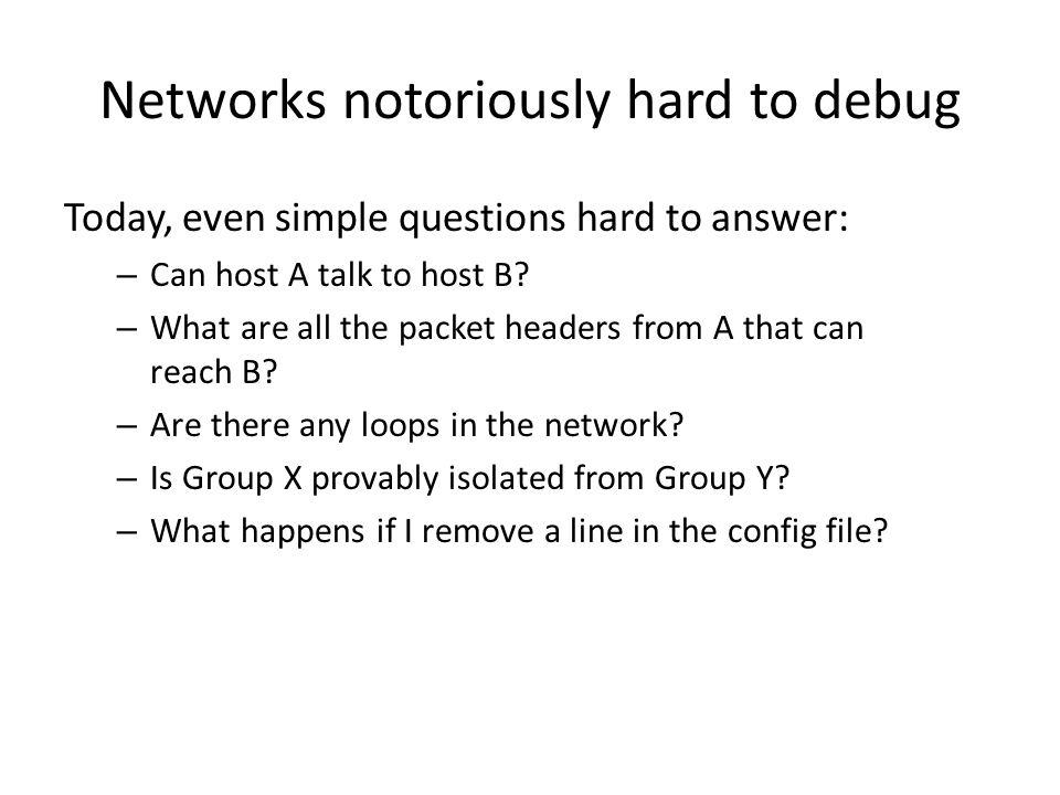 Networks notoriously hard to debug