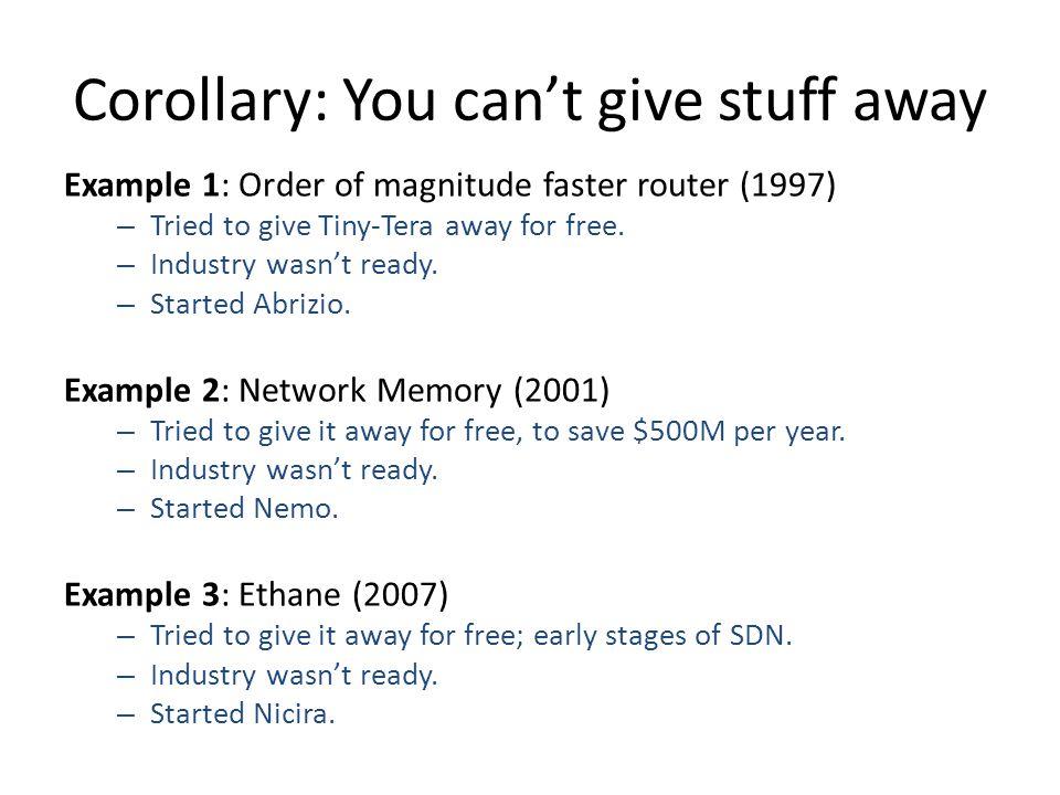 Corollary: You can't give stuff away