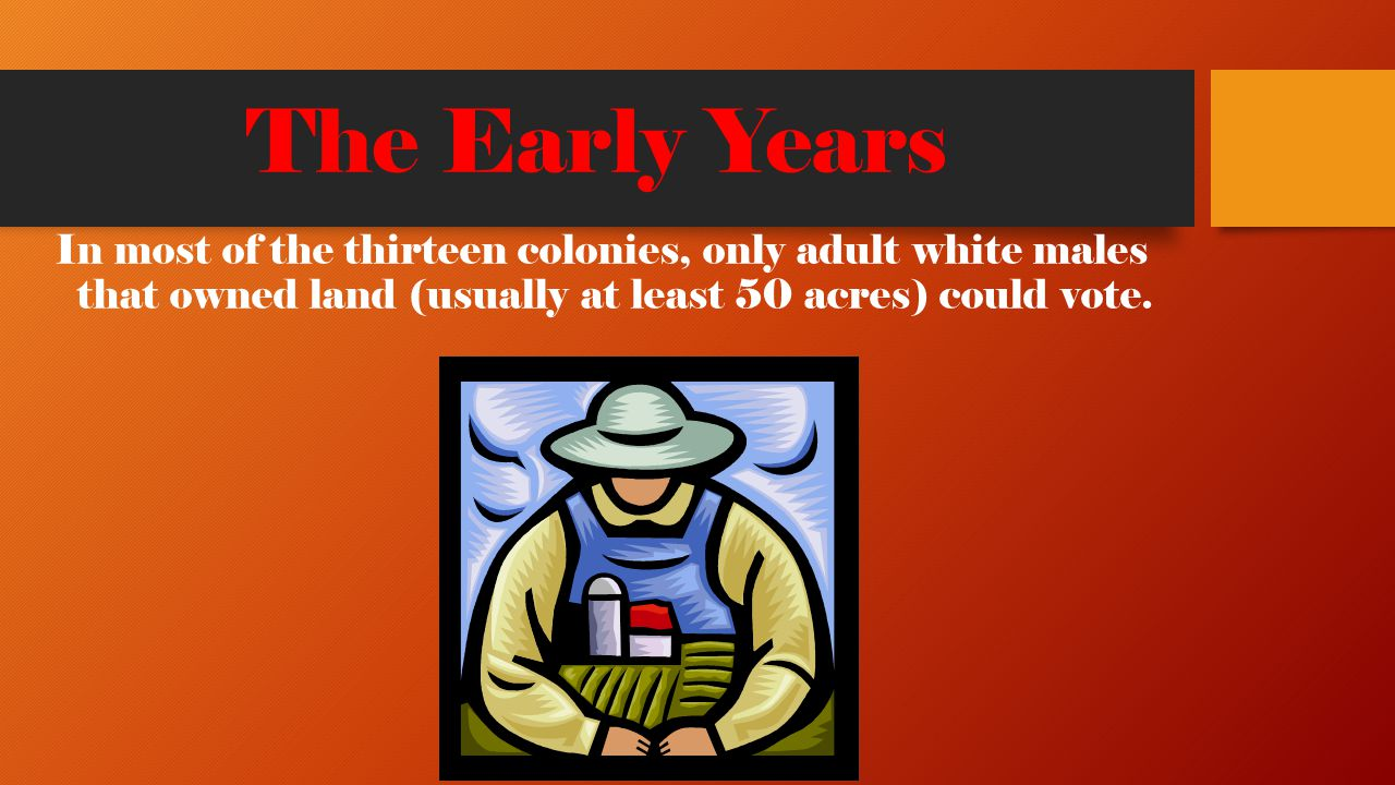 The Early Years In most of the thirteen colonies, only adult white males that owned land (usually at least 50 acres) could vote.