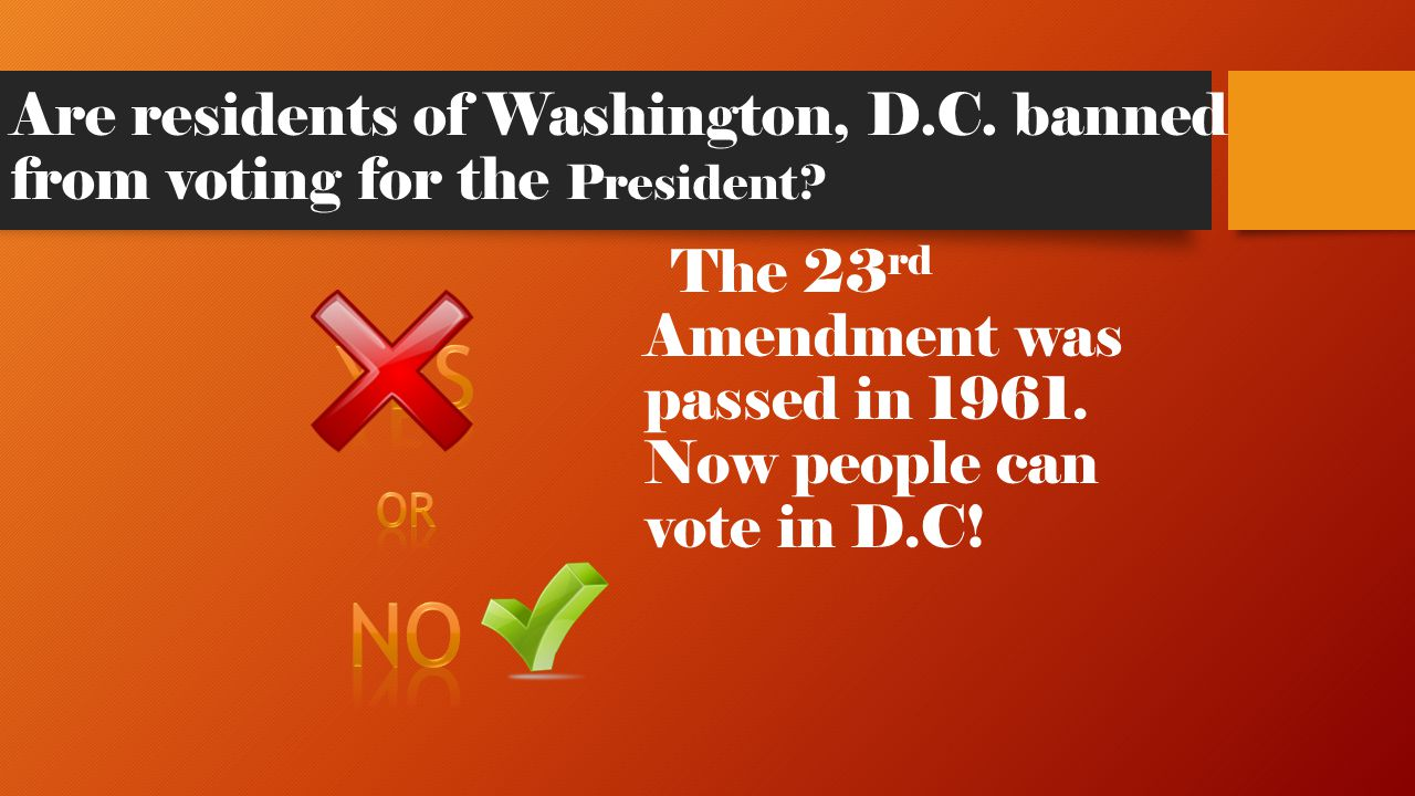 Are residents of Washington, D.C. banned from voting for the President