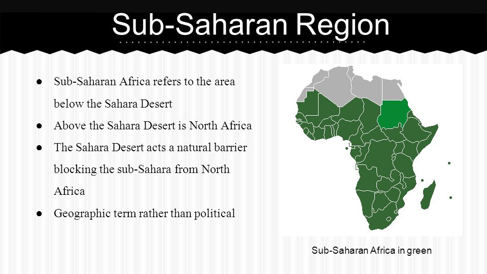 Sub-Saharan Africa in green