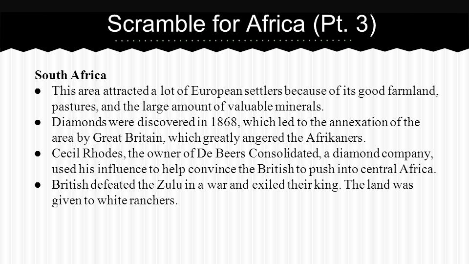 Scramble for Africa (Pt. 3)
