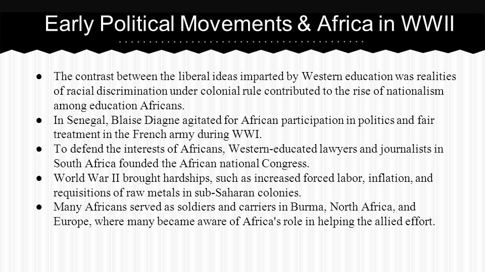 Early Political Movements & Africa in WWII