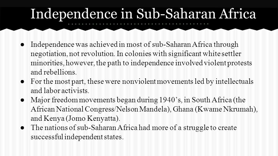 Independence in Sub-Saharan Africa