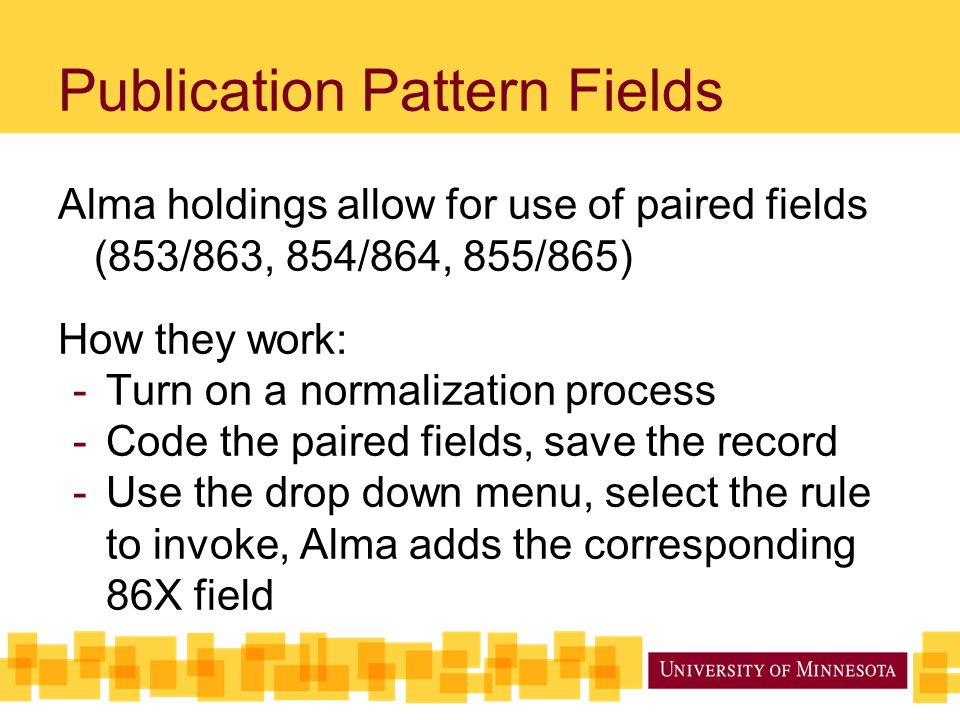 Publication Pattern Fields