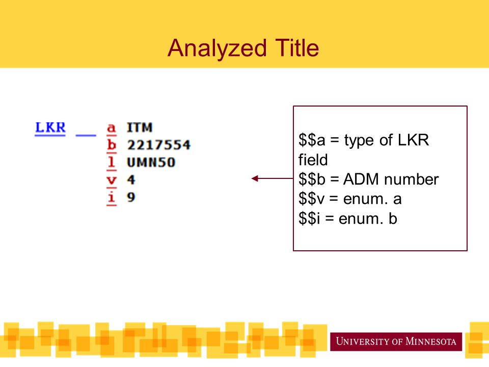 Analyzed Title $$a = type of LKR field $$b = ADM number $$v = enum. a