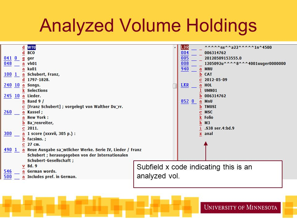 Analyzed Volume Holdings