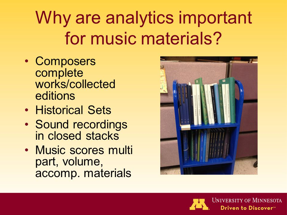 Why are analytics important for music materials