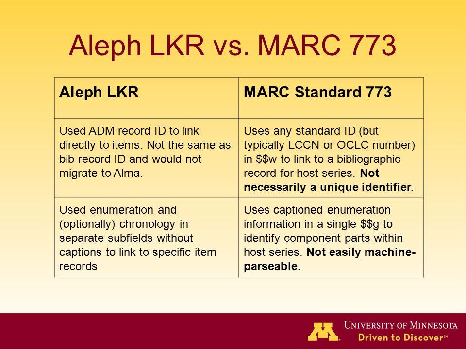 Aleph LKR vs. MARC 773 Aleph LKR MARC Standard 773