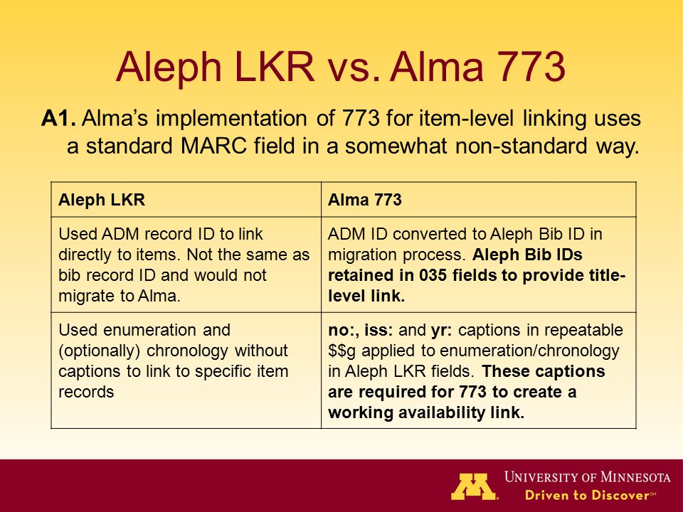 Aleph LKR vs. Alma 773 A1. Alma's implementation of 773 for item-level linking uses a standard MARC field in a somewhat non-standard way.