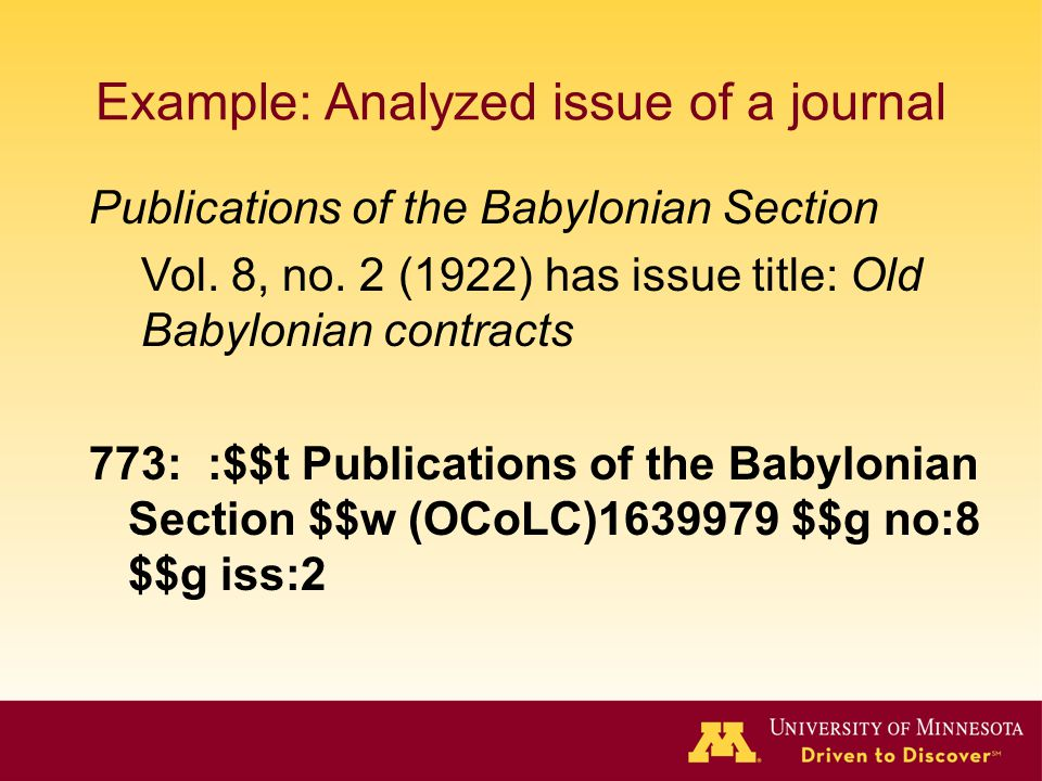 Example: Analyzed issue of a journal