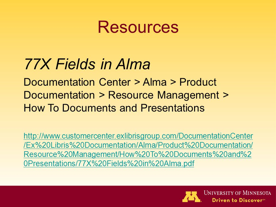 Resources 77X Fields in Alma