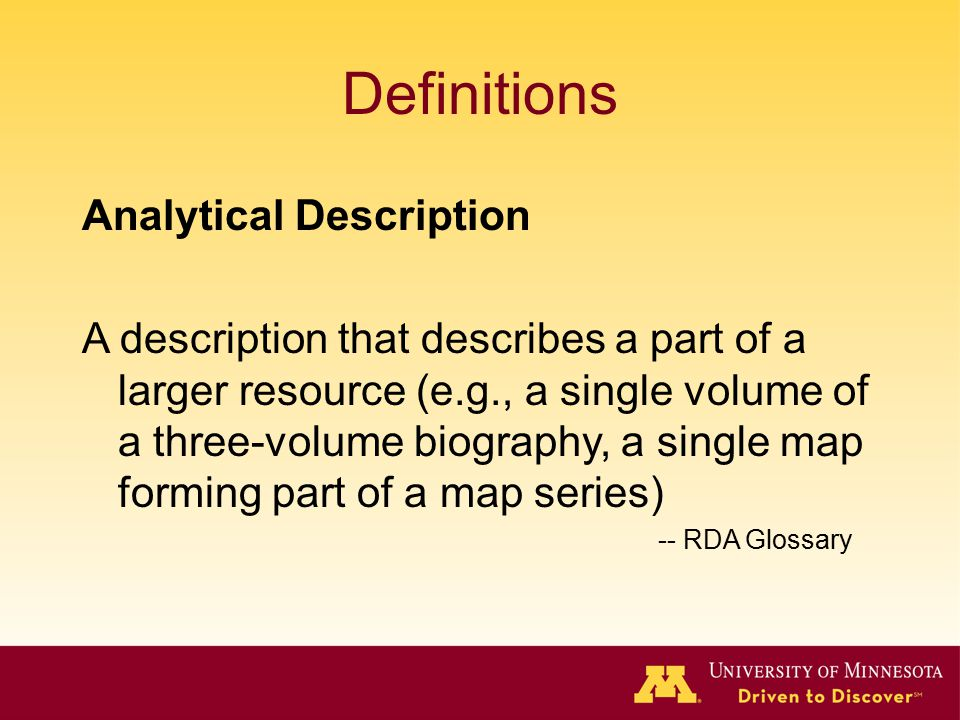 Definitions Analytical Description
