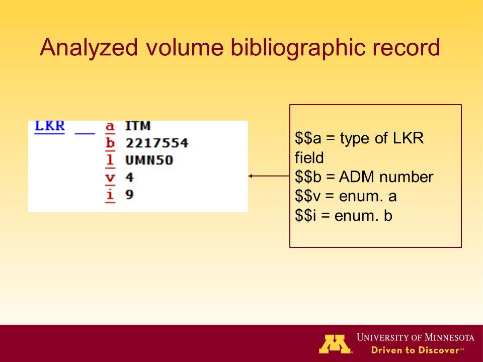 Analyzed volume bibliographic record