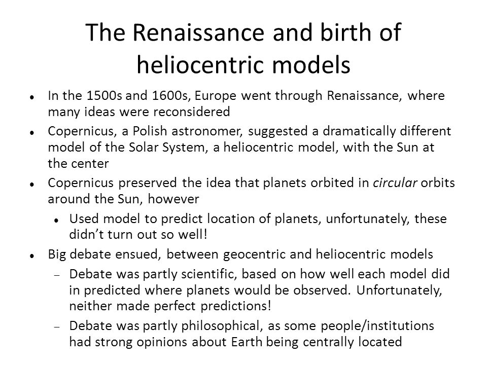 The Renaissance and birth of heliocentric models