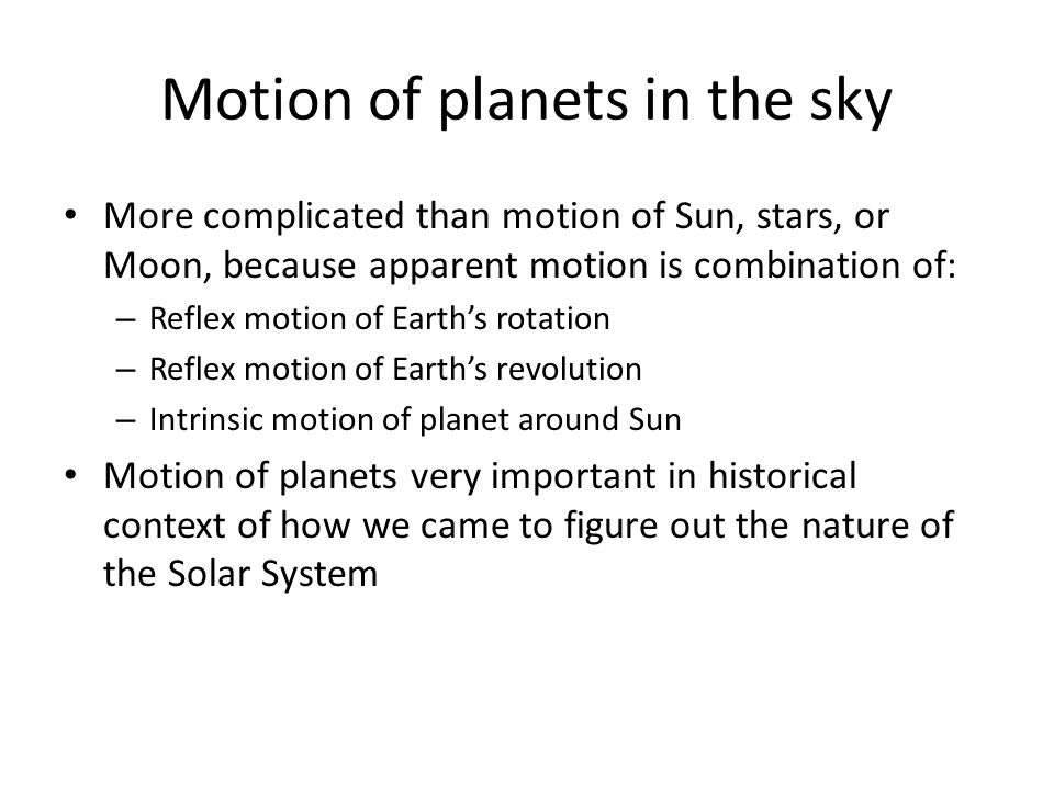 Motion of planets in the sky