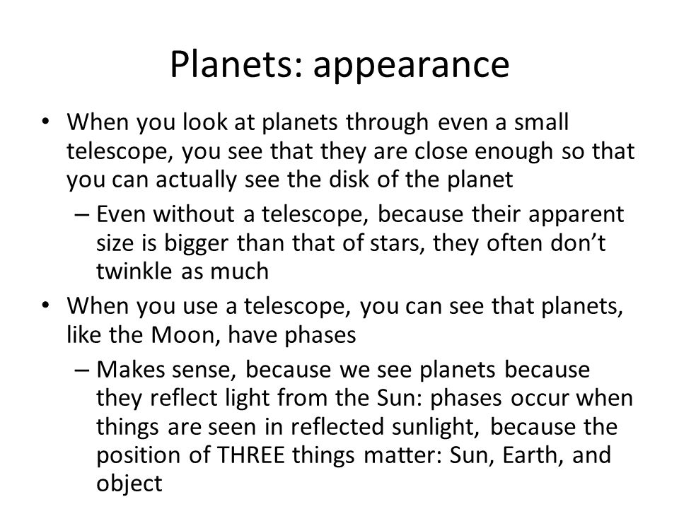 Planets: appearance