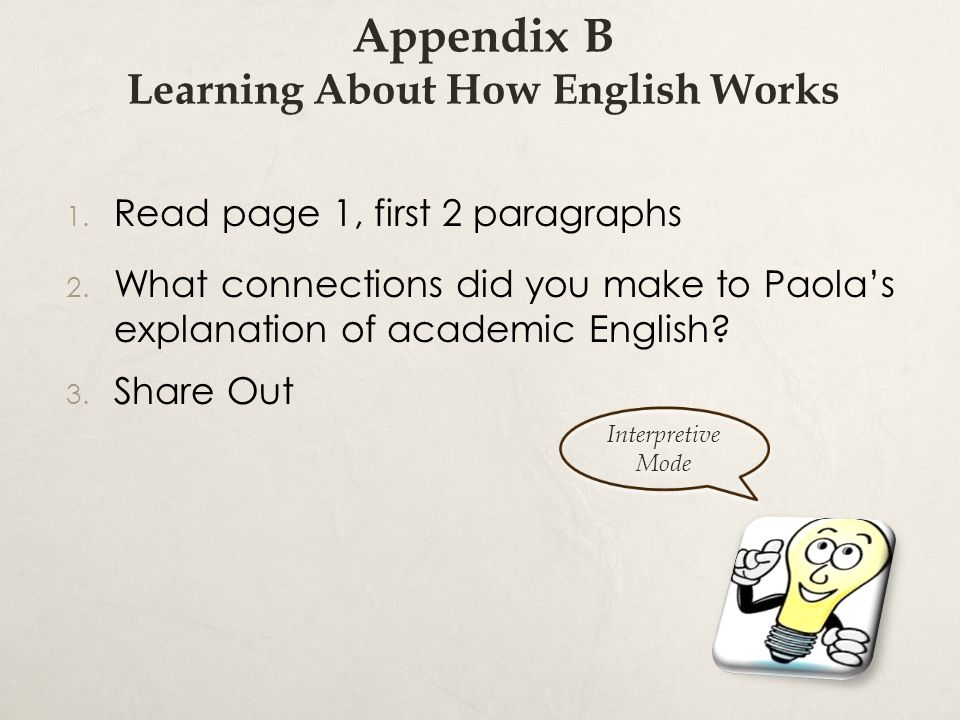 Appendix B Learning About How English Works