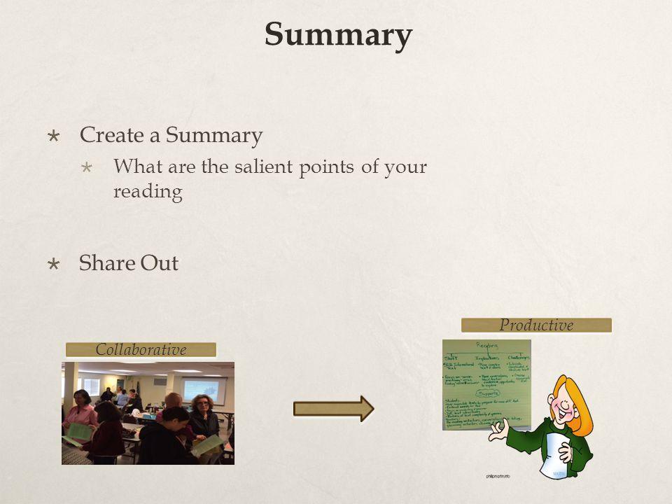 Summary Create a Summary Share Out