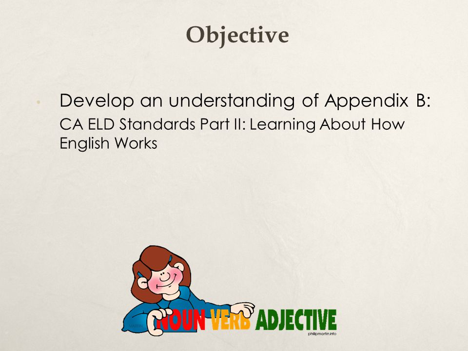Objective Develop an understanding of Appendix B: