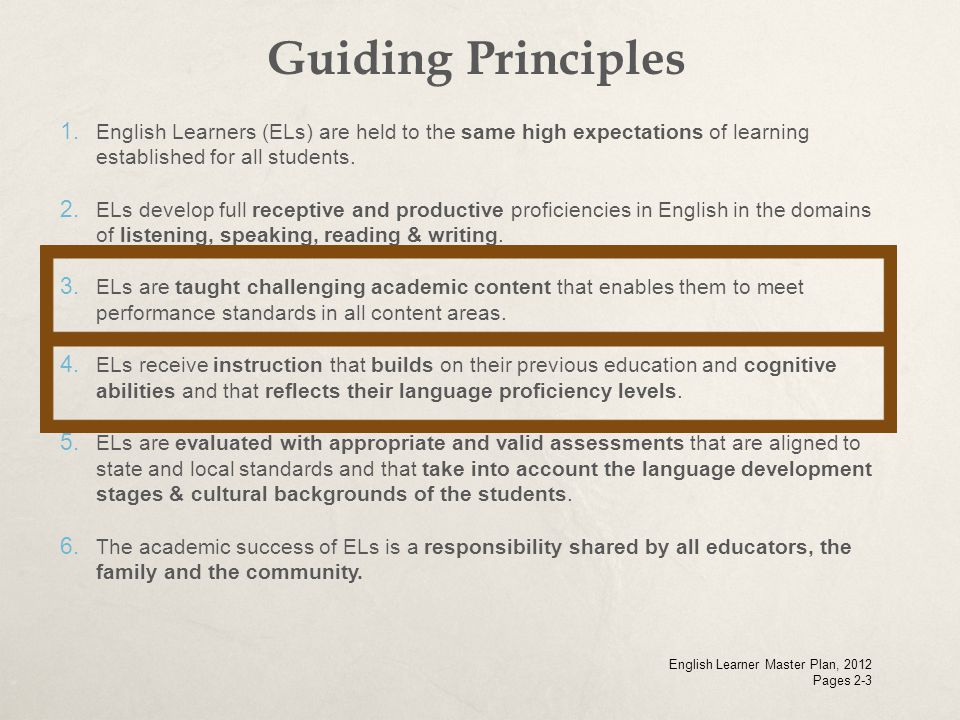 Guiding Principles English Learners (ELs) are held to the same high expectations of learning established for all students.