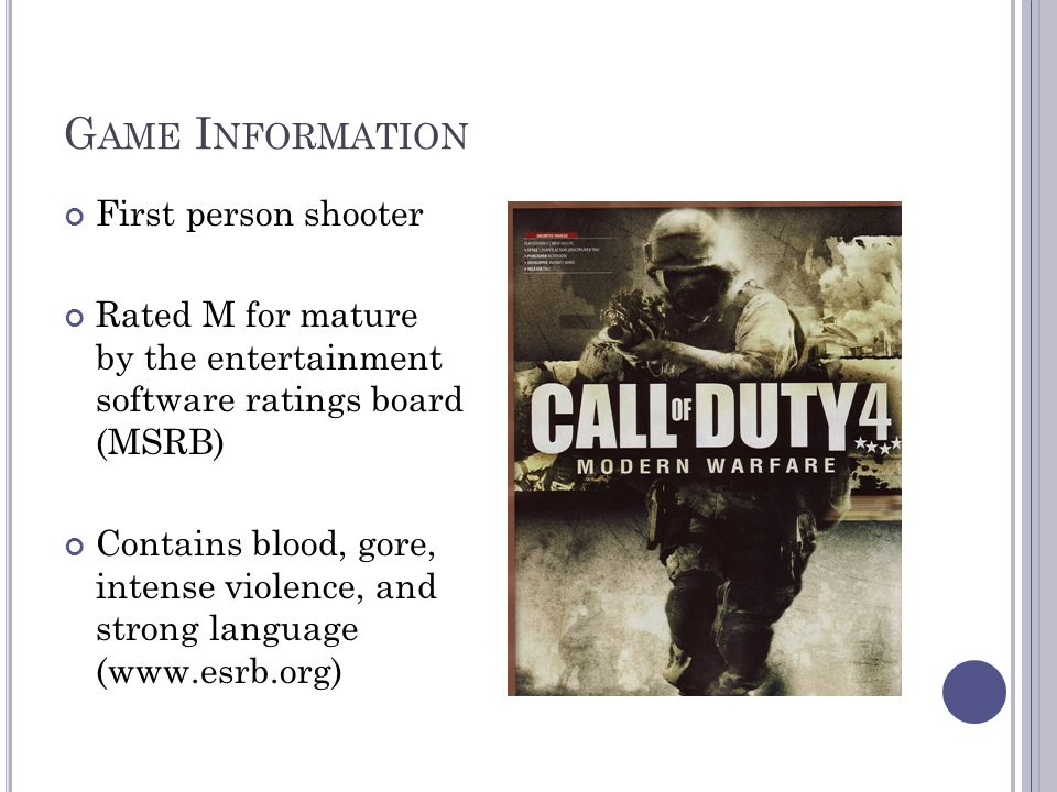 Game Information First person shooter