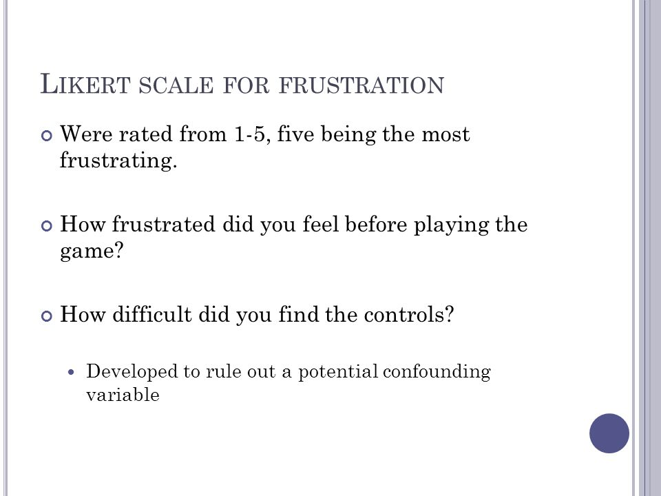 Likert scale for frustration