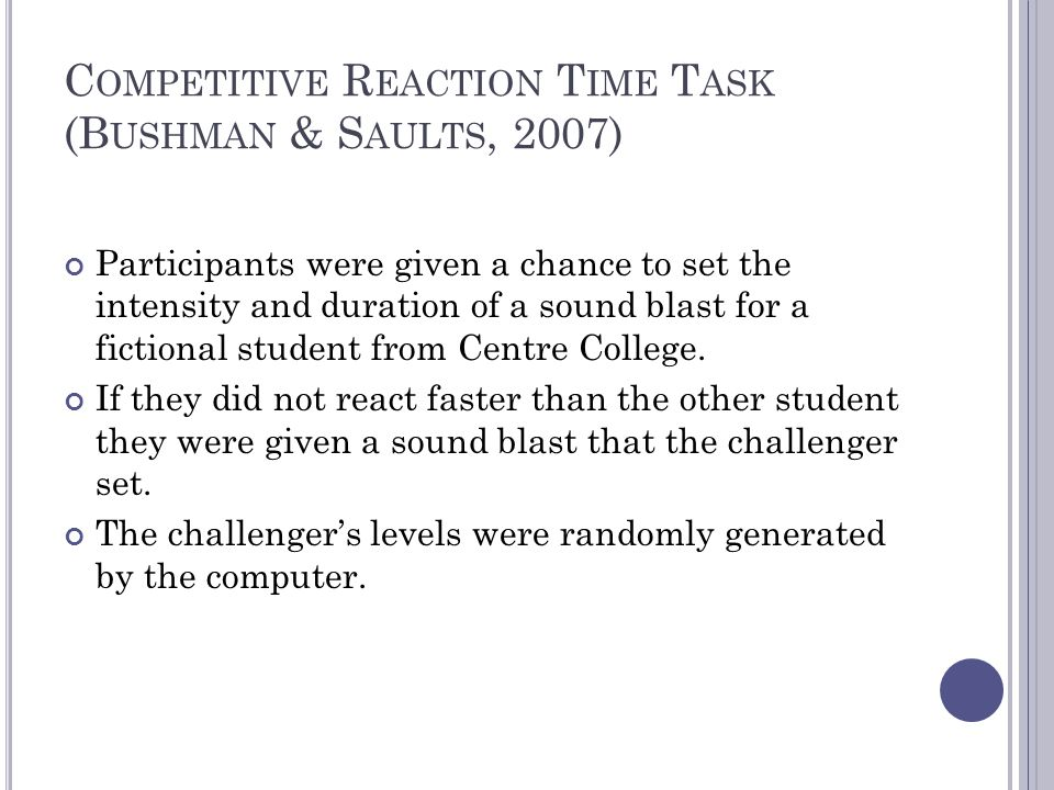 Competitive Reaction Time Task (Bushman & Saults, 2007)