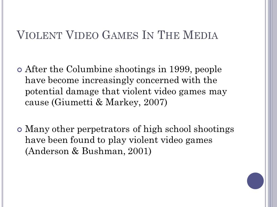 Violent Video Games In The Media
