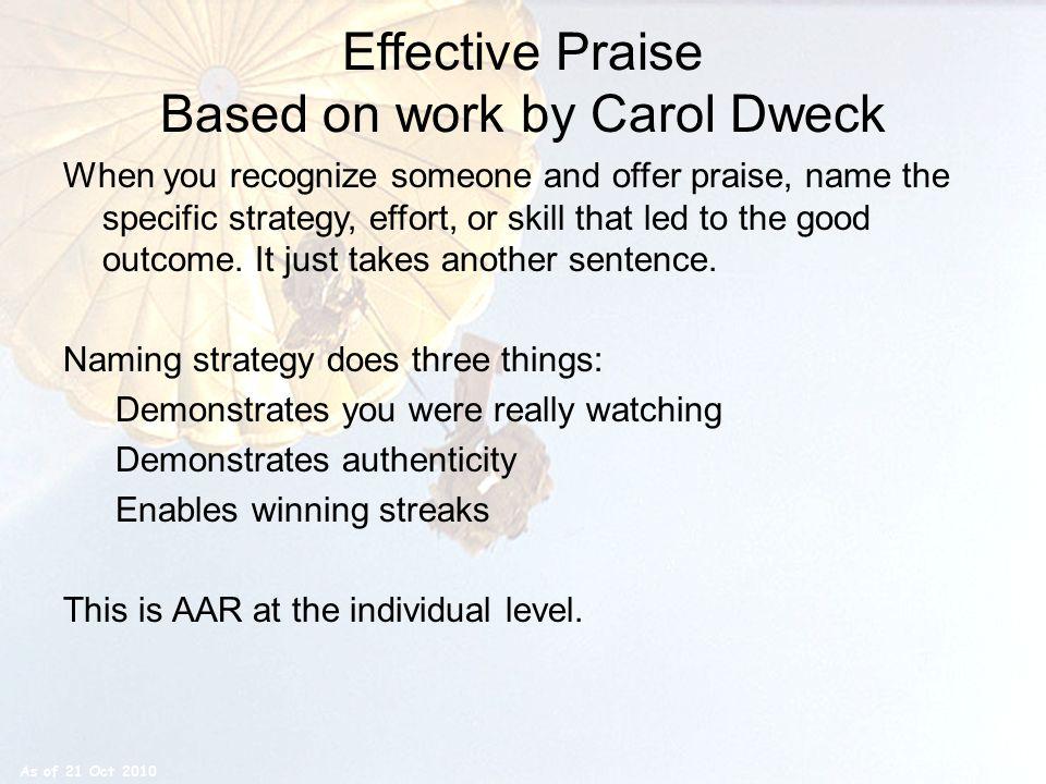 Effective Praise Based on work by Carol Dweck