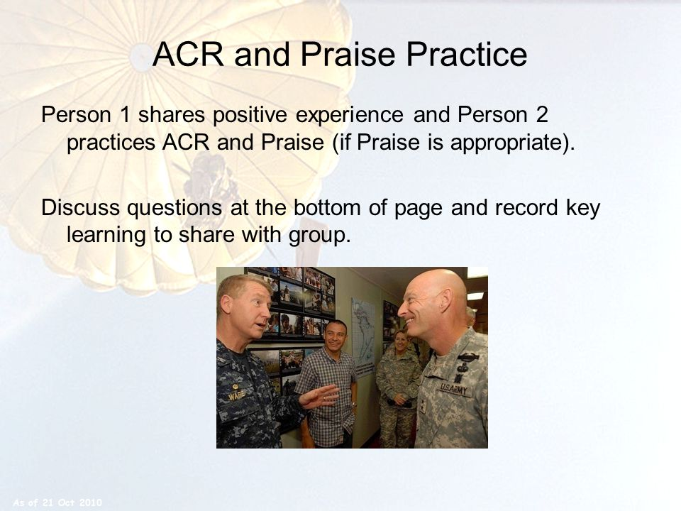 ACR and Praise Practice