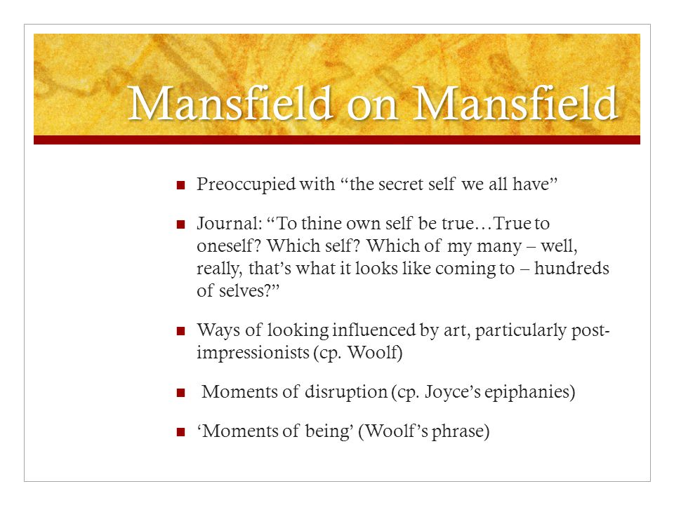 Mansfield on Mansfield