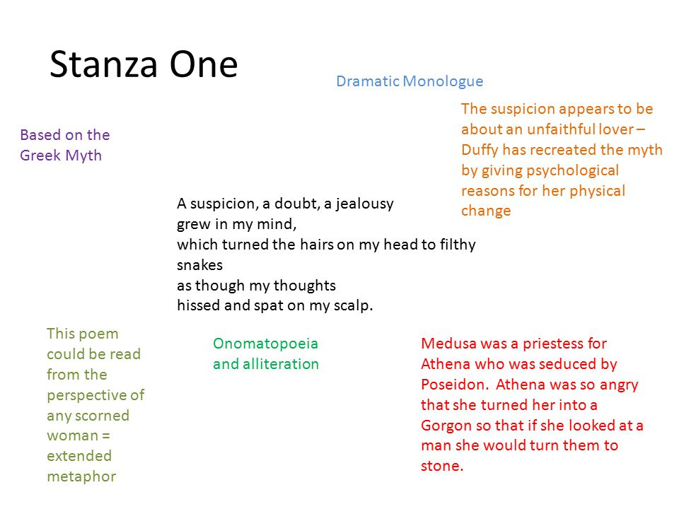 Stanza One Dramatic Monologue