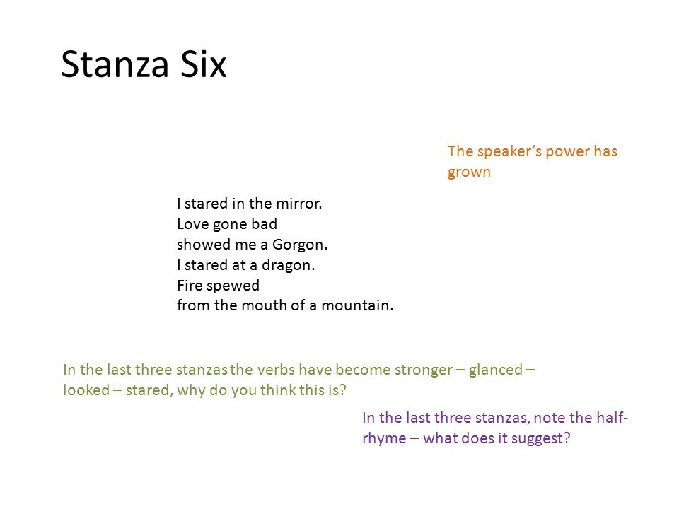 Stanza Six The speaker's power has grown I stared in the mirror.