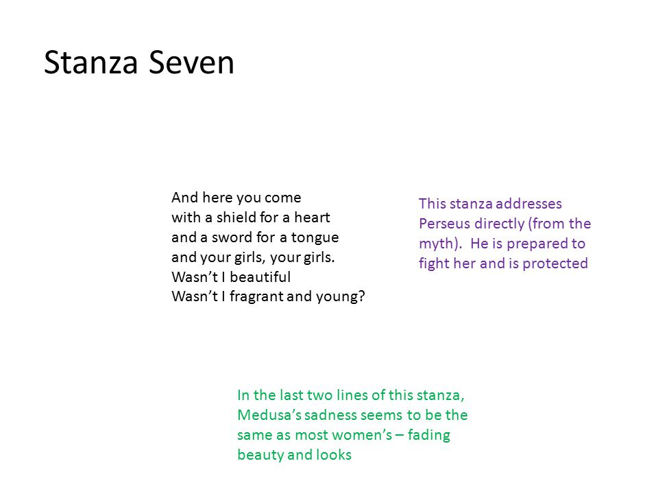 Stanza Seven And here you come